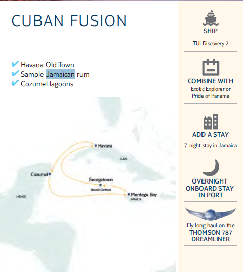 Map of Cuban Fusion cruise ports