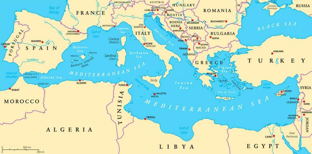 Mediterranean Cruise Map.