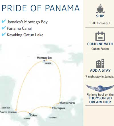 Map of the route of Pride of Panama cruise