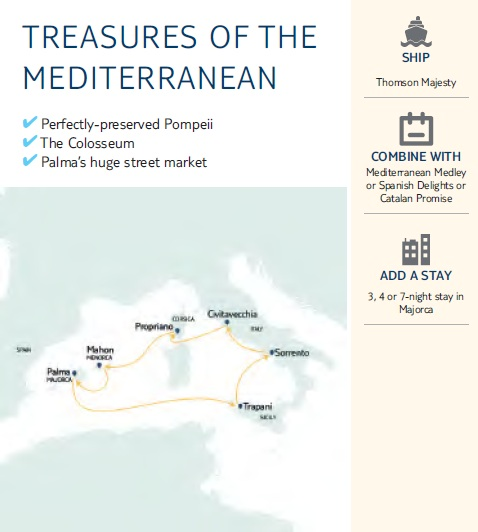 TREASURES OF THE MEDITERRANEAN CRUISES MAP